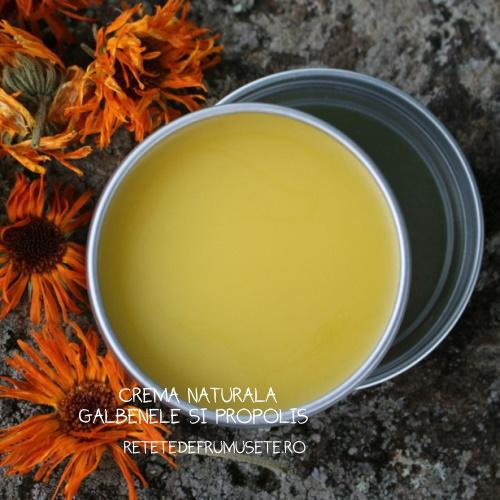 Cremă naturală cu ulei de gălbenele și propolis, recomandată pentru îngrijirea pielii sensibile și a tenului gras și cu roșeață.
